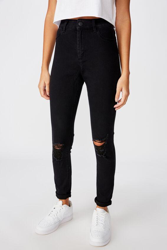 Long Super Skinny Ripped Jean, BLACK