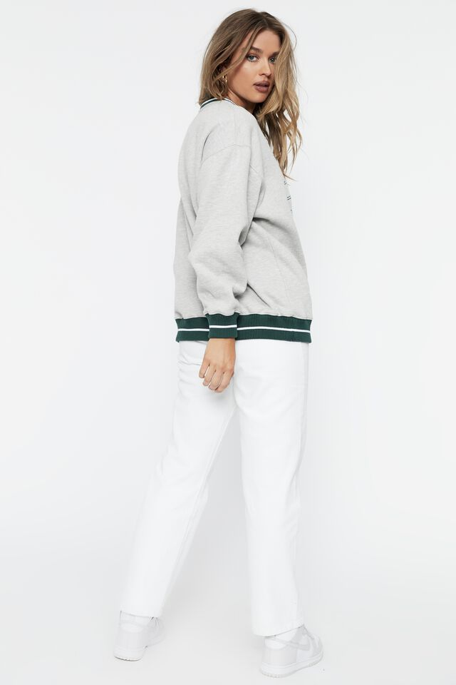 Mickey College Oversized Jumper, GREY MARLE/LCN DIS MICKEY COLLEGE