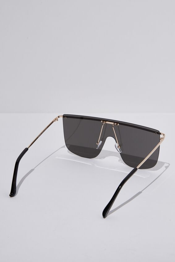 Kourtney Shield Sunglasses, GOLD/BLACK SMOKE