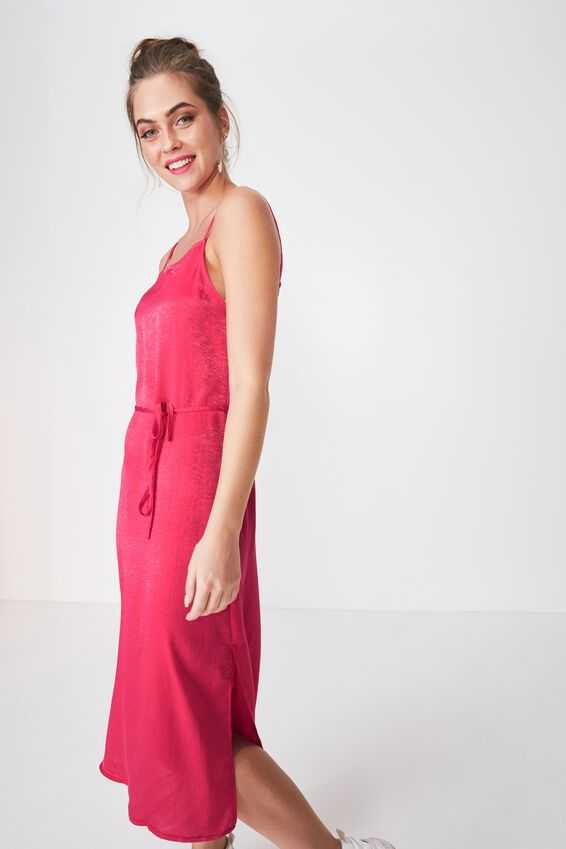 Bella Midi Dress, HOT PINK