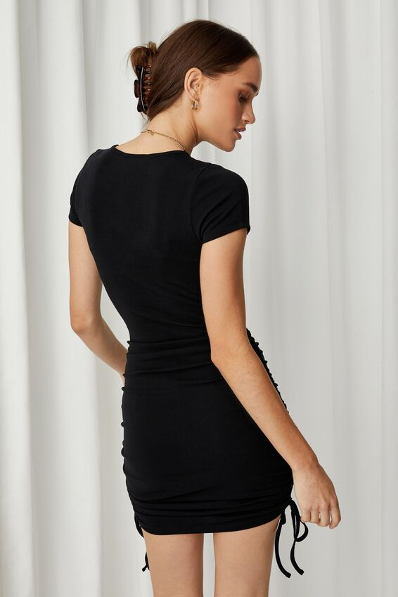 Jules Cut Out Ruched Dress, BLACK