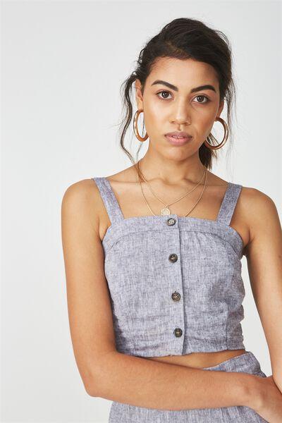 Button Through Linen Crop Top, GREY