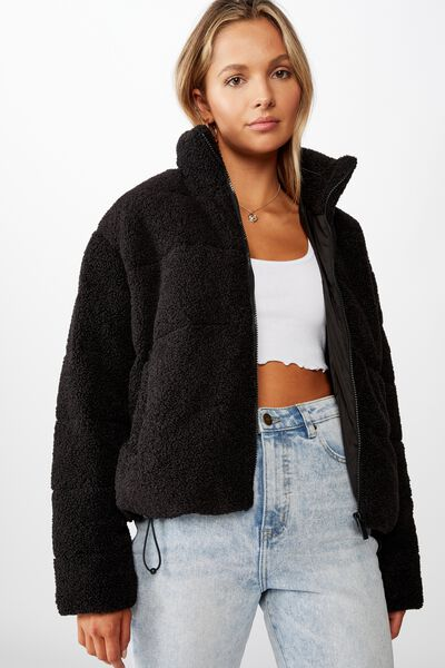 Tia Teddy Puffa Jacket, BLACK