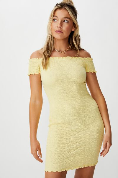 Kristy Shirred Off Shoulder Dress, DAISY YELLOW