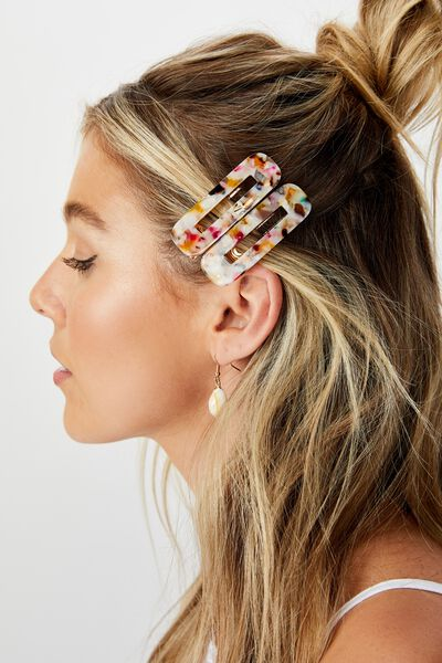 Rectangle Barrettes, MULTI COLOUR