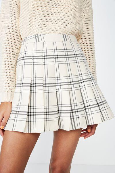 Pleated Mini Skirt, OATMEAL CHECK