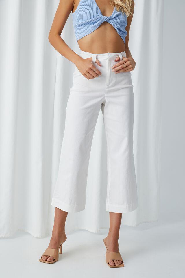 Zoe Wide Leg Pant, WHITE