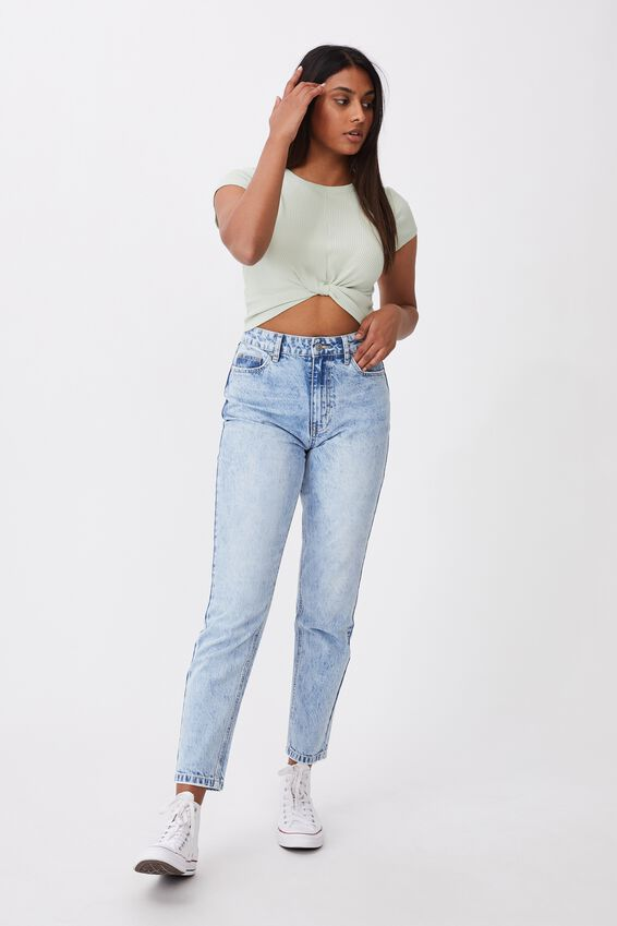 Carly Knot Front Crew Tee, DREAM MINT