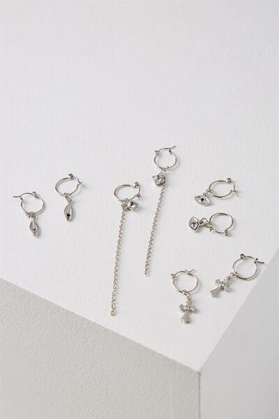 Chain Earring Set, SILVER