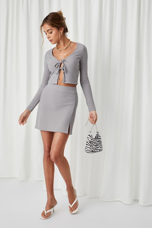 Willa Rib Mini Skirt Co Ord, PEARL GREY