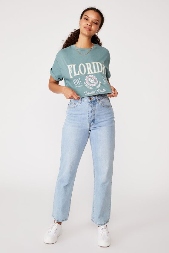 Tamara Printed Crop T Shirt, VINTAGE WASH CAMPER GREEN/FLORIDA SPORT