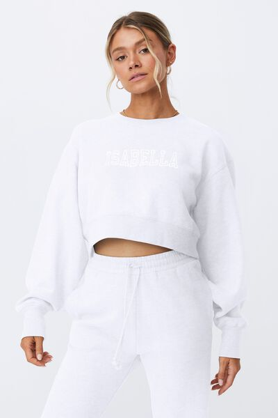 Personalised Louisa Cropped Jumper- College, WHITE