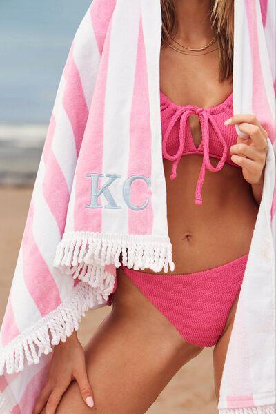 Personalised Beach Towels, PINK WHITE STRIPE