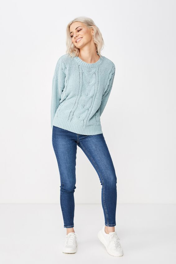 Tilly Cable Knit, DUCK EGG