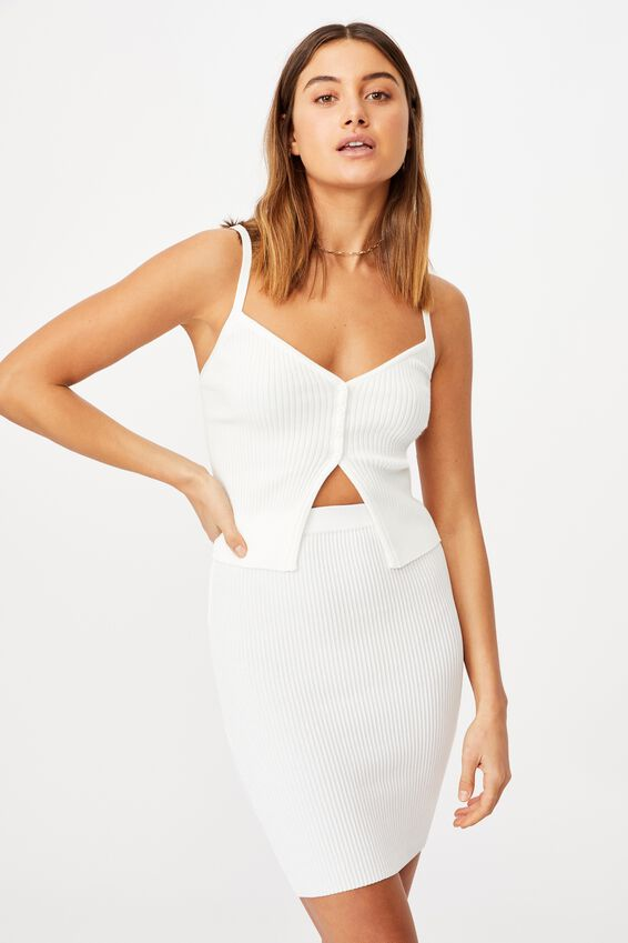 Mina Tube Skirt Co Ord, WHITE