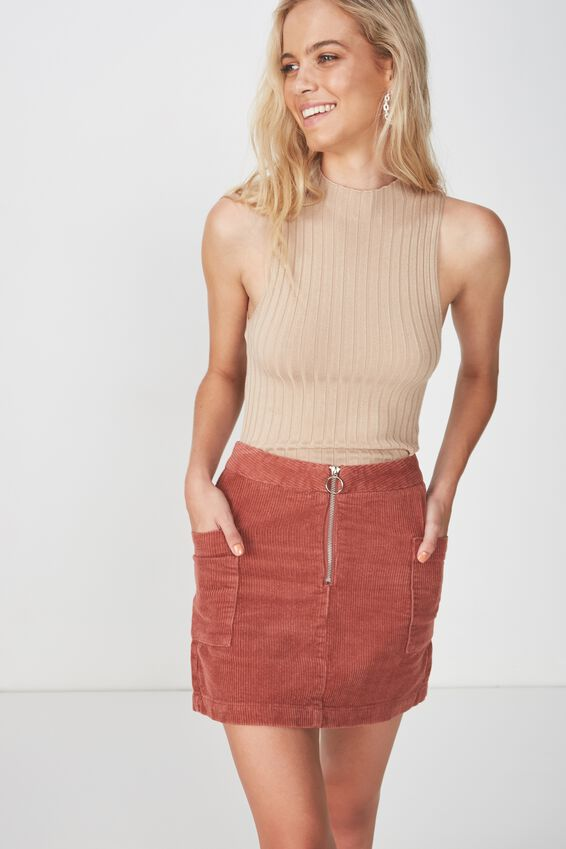 Cord Patch Pocket Skirt, TERRACOTTA