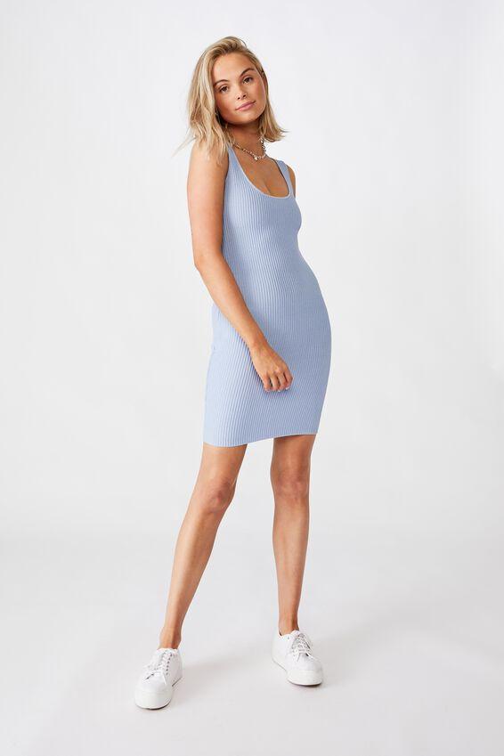 Maggie Square Neck Knit Dress, BLUE PETAL