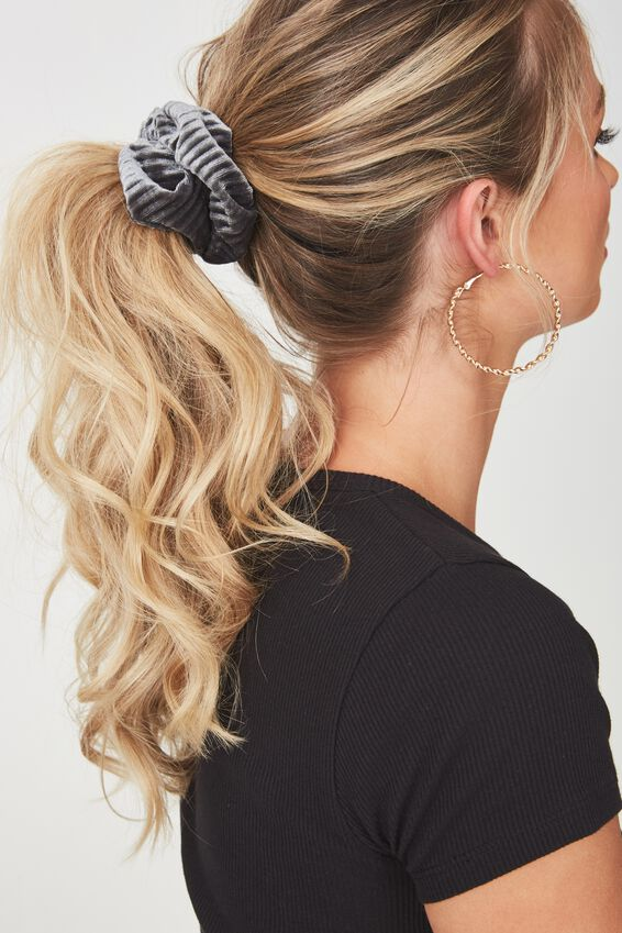 Pleated Plush Scrunchie, GREY