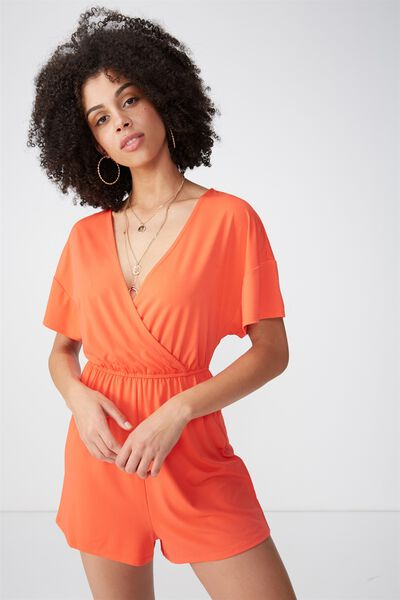 Short Sleeve Wrap Playsuit, TANGERINE