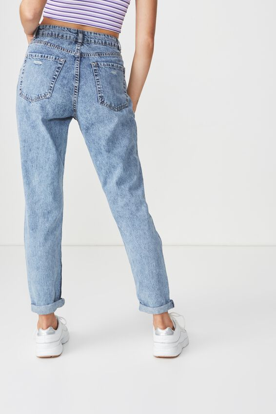 Cool Mom Ultra Destroyed Denim Jean, RETRO BLUE RIP