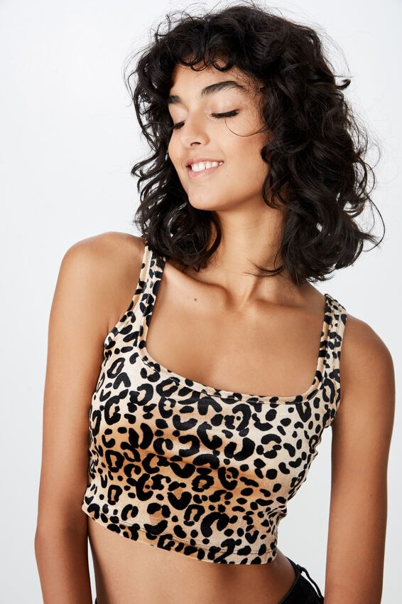Velvet Scoop Neck Crop, LEOPARD PRINT