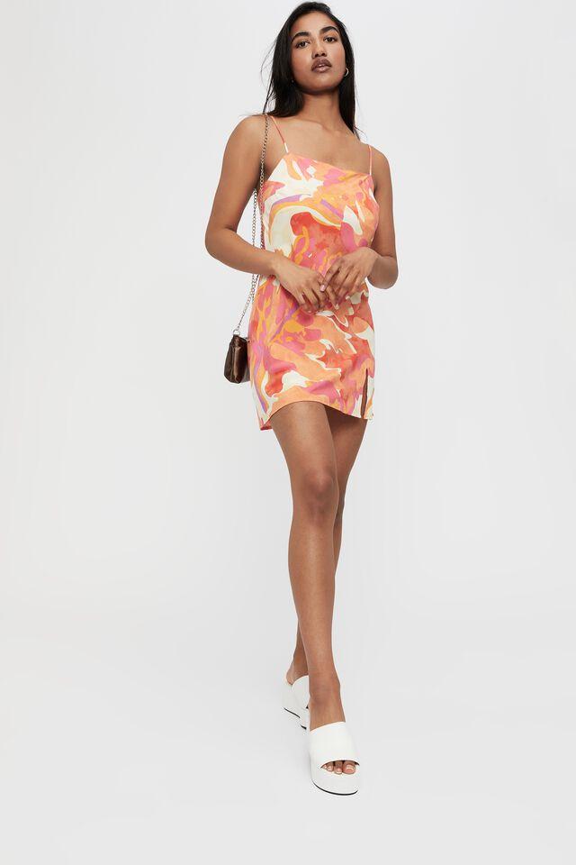 Finley Tie Back Mini Dress, VIOLA TEXTURE ORANGE
