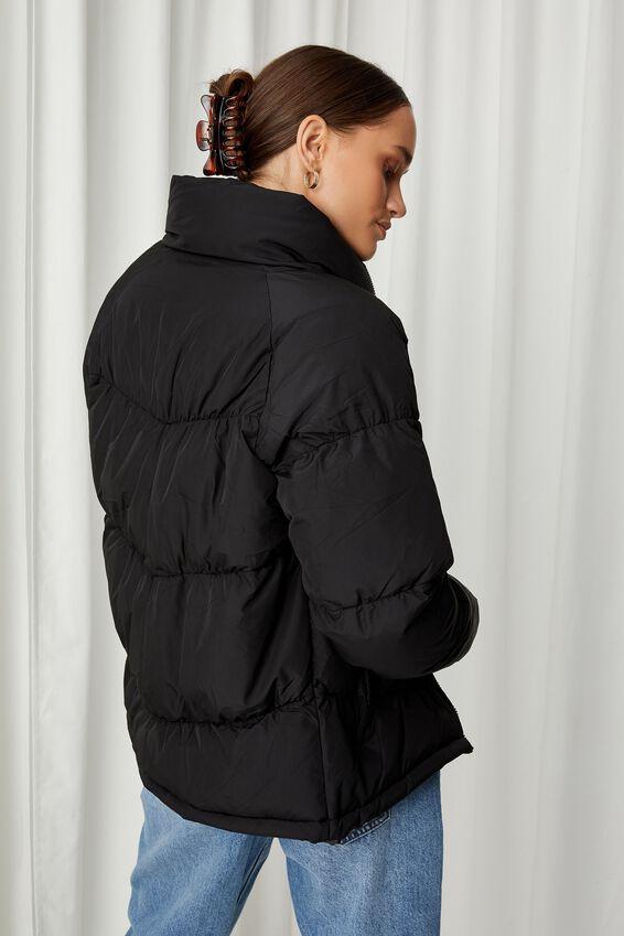 Personalised Puffer Jacket, BLACK