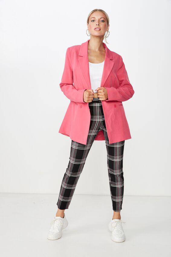 Lexie Slim Leg Pant, PINK MOSS CHECK
