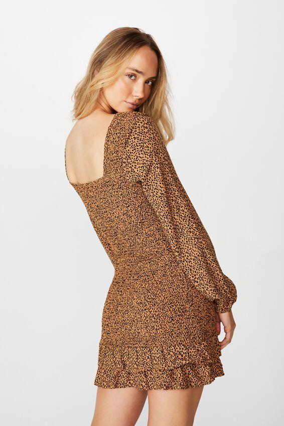 Isla Frill Hem Shirred Dress, MINI GIGI LEOPARD TAUPE