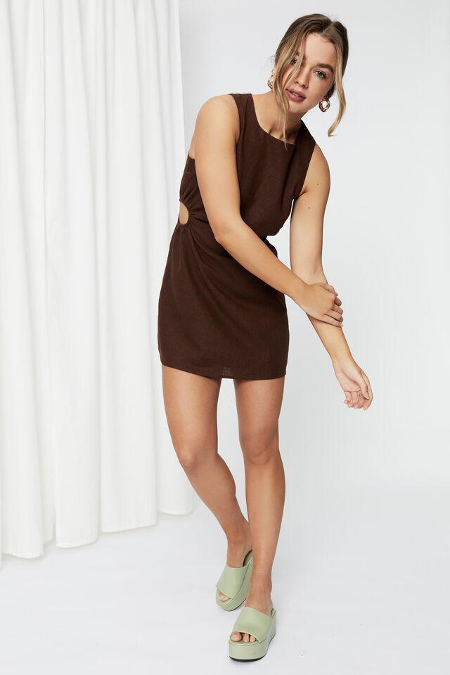 Mila Cutout Mini Dress, BRUNETTE