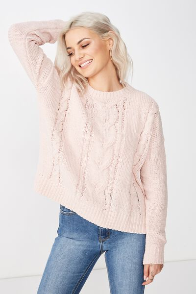 Tilly Cable Knit, DIVINE PINK