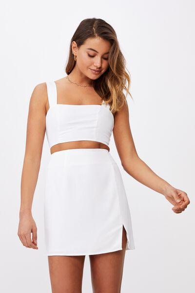 Natasha Waffle Skirt, WHITE
