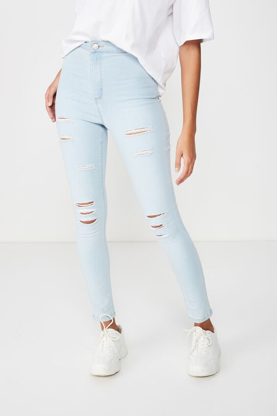 Super Skinny Sky High Ripped Jean, BLEACH BLUE