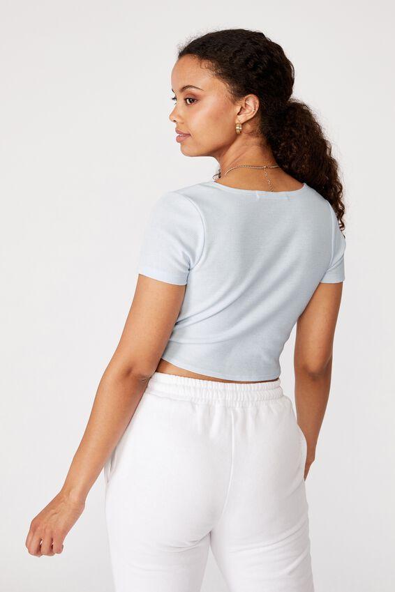 Cynthia Twist Front Short Sleeve Top, ARTIC BLUE