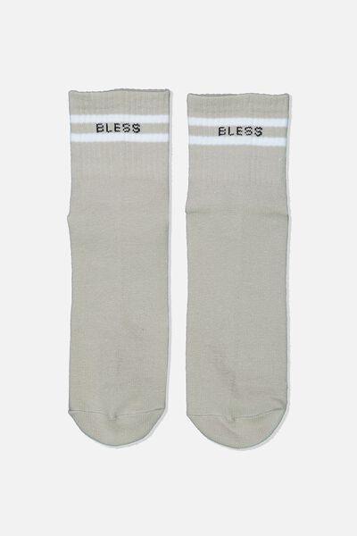 90S Stripe Crew Socks, SAND BLESS
