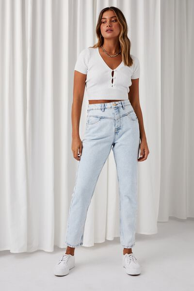 The Mom Denim Jean, ICY BLUE FRONT YOKE