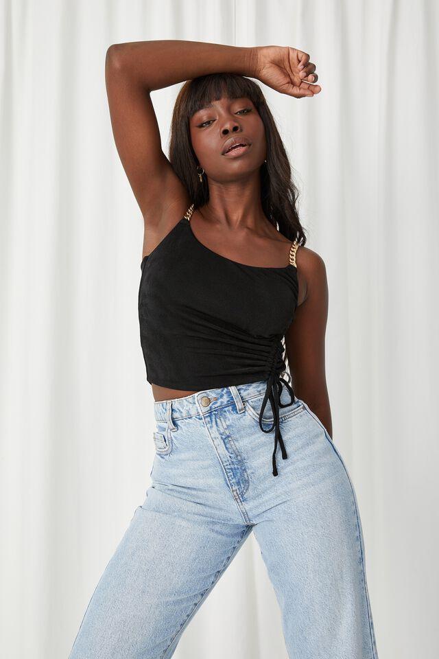 Hannah Slinky Chain Strap Top, BLACK