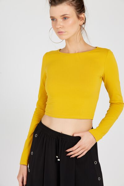 Basic Long Sleeve Raised Neck Crop Tee, MUSTARD