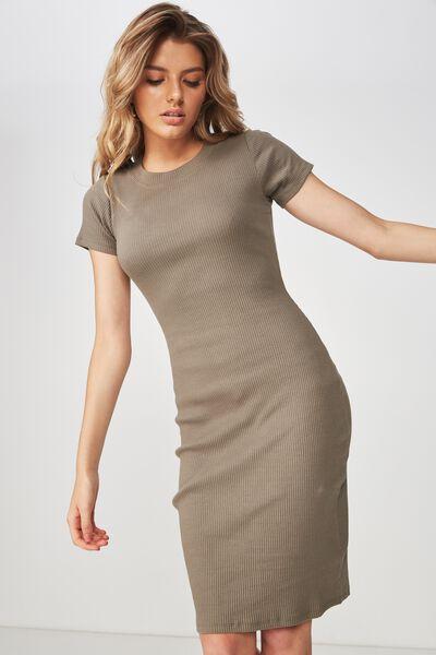 The London Rib T-Shirt Dress, GUM LEAF KHAKI