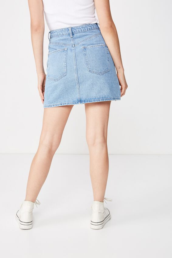 The Blair Aline Denim Skirt, LIGHT MID BLUE