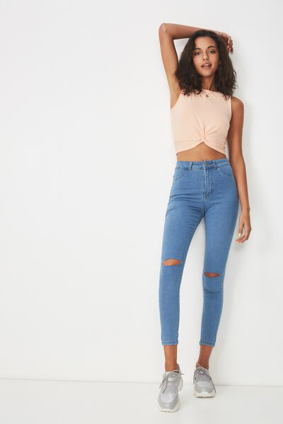 The Skinny Ripped Denim Jean, ESSENTIAL BLUE