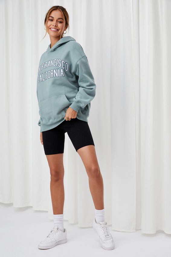 Paige Oversized Printed Hoodie, WILLOW GREEN/SAN FRAN CALI