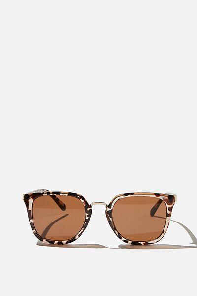 Jessa Square Sunglasses, TORTISE SHELL