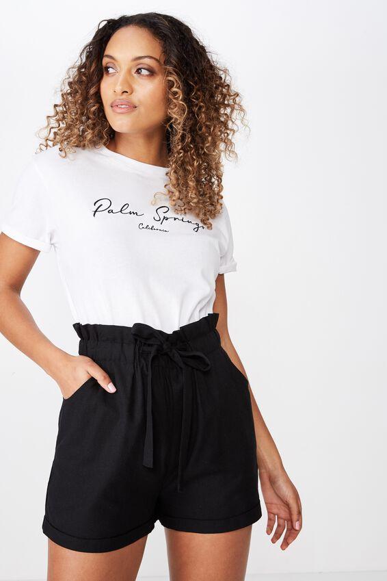 Lottie Linen Paperbag Waist Short, BLACK