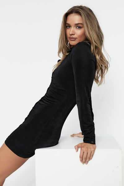Lana Gathered Shirt Dress, BLACK