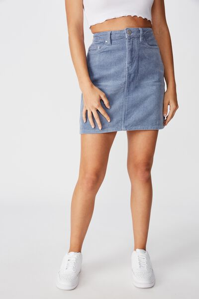 Remi Cord Mini Skirt, DUSK SKY BLUE