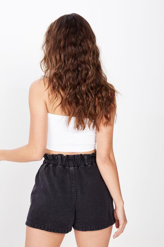 Amalfi Paperbag Waist Shorts, WASHED BLACK