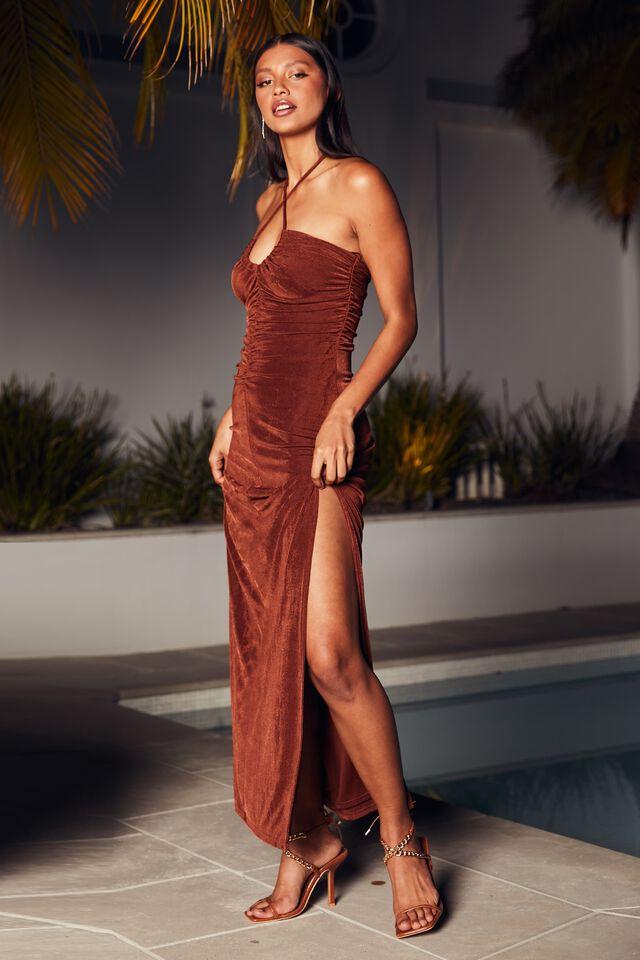 Serena Halter Neck Ruched Formal Dress, BURNT BUTTER