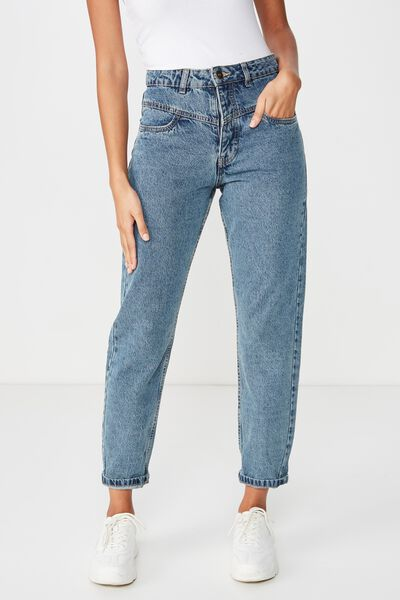 Mom Denim Jean, BLUE ACID FRONT YOKE