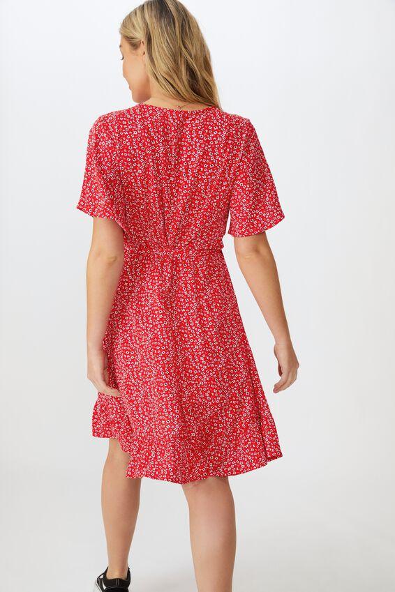Emily Wrap Dress, FLOWY FLORAL RED